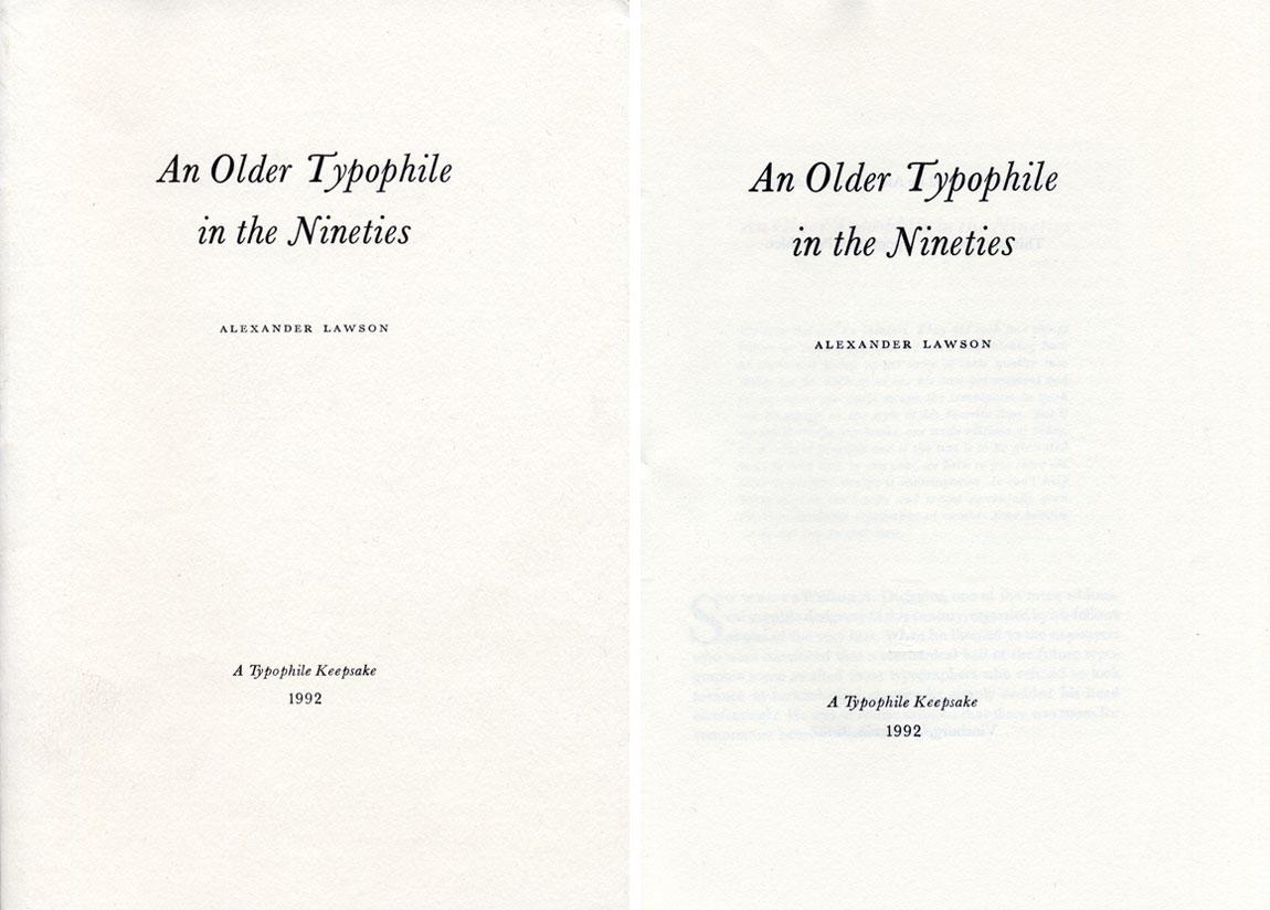 An Older Typophile in the Nineties
