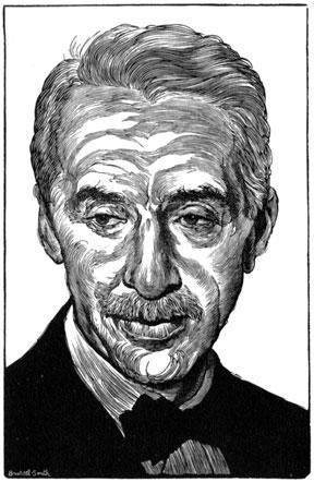 Wood engraving of O. Alfred Dickman by Bernard Brussel-Smith from the Typophile dinner keepsake, 3 December 1962.