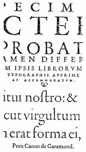 Part of the specimen sheet issued by Konrad Berner